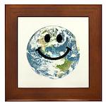 Happy earth smiley face Framed Tile