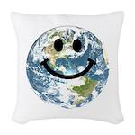 Happy earth smiley face Woven Throw Pillow