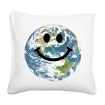 Happy earth smiley face Square Canvas Pillow