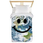 Happy earth smiley face Twin Duvet