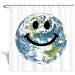 Happy earth smiley face Shower Curtain