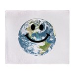 Happy earth smiley face Throw Blanket