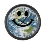 Happy earth smiley face Large Wall Clock