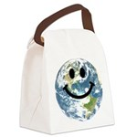 Happy earth smiley face Canvas Lunch Bag