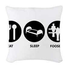 Eat Sleep Foosball Woven Throw Pillow