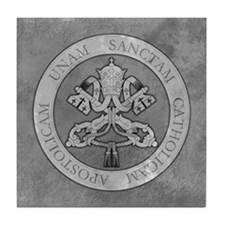 """Grey Stone Vatican Seal w/4 Marks"" Tile Coaster"