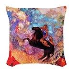 Odilon Redon Muse On Pegasus Woven Throw Pillow