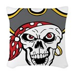 Pirate Skull Woven Throw Pillow