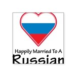 Happily Married Russian Square Sticker 3