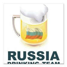 """Russia Drinking Team Square Car Magnet 3"""" x 3"""""""