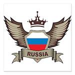 Russia Emblem Square Car Magnet 3