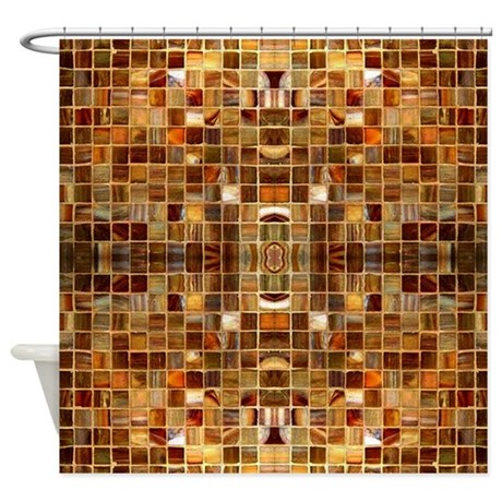 Gold Mosaic Tiles Shower Curtain By ZazzlingShowerCurtains