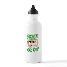 Retro 80s Skate or Die Skull Water Bottle