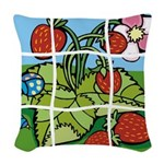Strawberry Puzzle Woven Throw Pillow