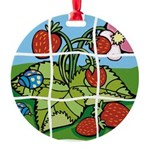 Strawberry Puzzle Round Ornament