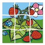 Strawberry Puzzle Square Car Magnet 3