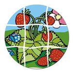 Strawberry Puzzle Round Car Magnet