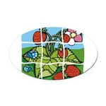 Strawberry Puzzle Oval Car Magnet