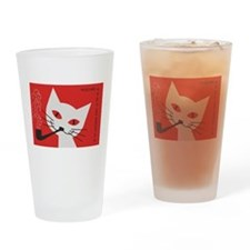 Pipe Cat Drinking Glass