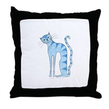 Sininen Kissa - Blue Cat Throw Pillow