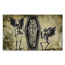Winged Skeletons And Coffin Decal