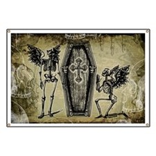 Winged Skeletons And Coffin Banner