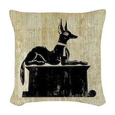 Jackal On Shrine Woven Throw Pillow