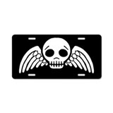 winged-skull_bw_9x18.png Aluminum License Plate