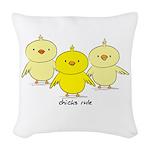 Chicks Rule Woven Throw Pillow