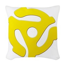 Yellow 45 RPM Adapter Woven Throw Pillow