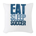 EAT SLEEP SOCCER Woven Throw Pillow