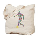 Soccer Typography Player Tote Bag