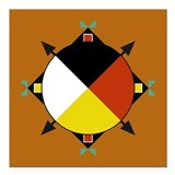"Cherokee Four Directions Square Car Magnet 3"" x 3"""