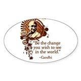 Funky Gandhi-Be the change... Sticker (Rectangular