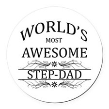 World's Most Awesome Step-Dad Round Car Magnet