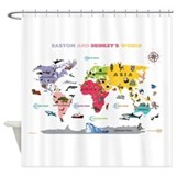 World Map For Kids- White - Shower Curtain
