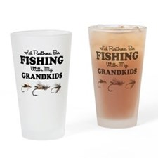 Rather Be Fishing Grandkids Drinking Glass