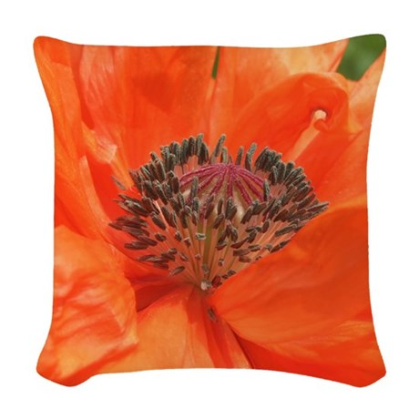 Orange Icelandic Poppy Woven Throw Pillow