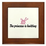 The Princess is Knitting Framed Tile
