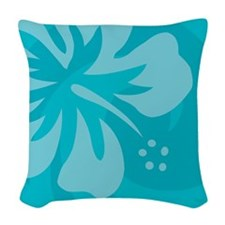 Hibiscus Light Blue Woven Throw Pillow