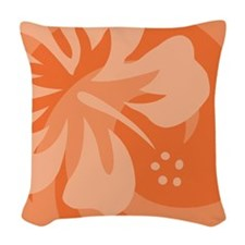 Hibiscus Orange Woven Throw Pillow