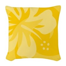 Hibiscus Yellow Woven Throw Pillow