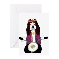 Basset Biker Greeting Card