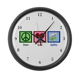 Peace Love Agility Large Wall Clock