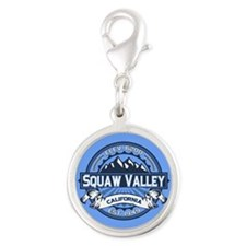 Squaw Valley Blue Silver Round Charm