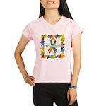Square Autism Puzzle Ribbon Performance Dry T-Shir