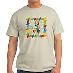 Square Autism Puzzle Ribbon Light T-Shirt