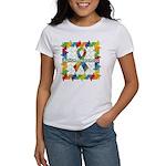 Square Autism Puzzle Ribbon Women's T-Shirt