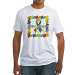 Square Autism Puzzle Ribbon Fitted T-Shirt