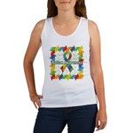 Square Autism Puzzle Ribbon Women's Tank Top